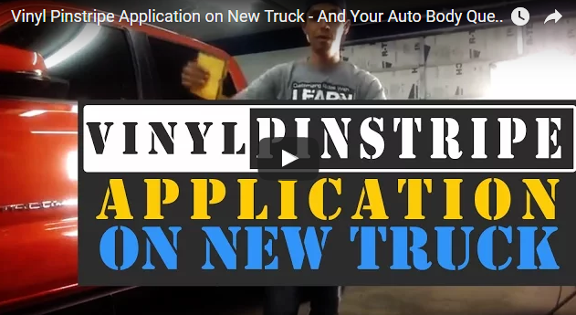 Vinyl Pinstripe Application on New Truck – And Your Auto Body Questions Answered